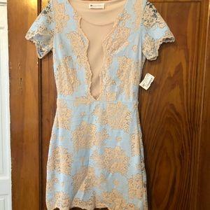 Beige and light blue lace mini dress! Brand new, S